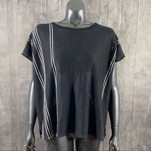 360 Sweater Size XS Linen Ribbed Striped Blouse